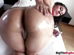 Busty slut gives head and gets shaved pussy licked