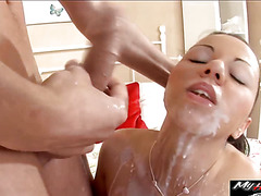 Busty hot Kathy takes a thick dick balls deep
