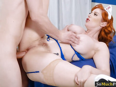Big juggs redhead nurse asshole nailed on patients bed