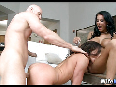 Big Tit Brunette Wives share a Cock