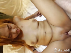 Busty Asian slut with natural tits and big ass getting pounded by BWC