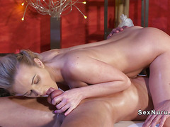 Masseuse uses her feet for cock massage