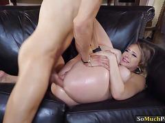 Lusty blonde Kagney Linn Karter butt plugged and analyzed
