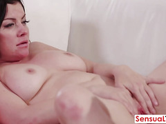 Sexy brunette MILF gt her pussy licked and fucked by her shemale friend
