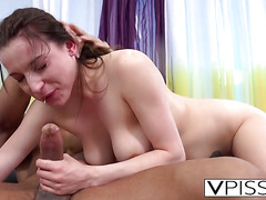 Brunette and stud pissing and fucking
