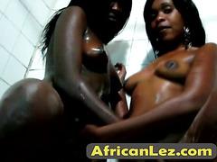 African lesbian sluts love showering together