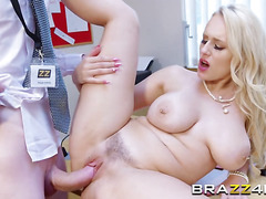 Blonde Chick Angel Wicky Gets Pounded On Desk