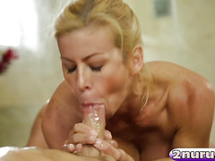 Slutty busty MILF Alexis Fawx gives a nice massage then takes care of client's dick