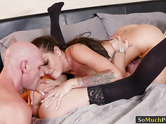 Sexy wife Kissa Sins and hubby threesome sex with Anya Olsen