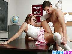 Nerdy schoolgirl Carmen Callaway gets fucked