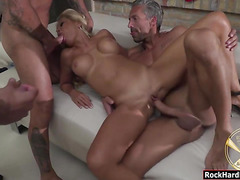 Group of luscious pornstars sharing rods in Rocco Academy
