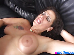 A very hot brunette MILF in red stockings gets her throat and ass drilled hard
