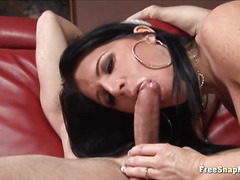 Brunette Milf Performing Blowjob