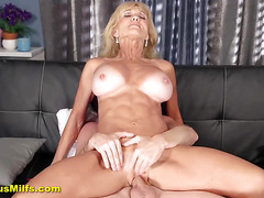 Blonde broad loves young cocks