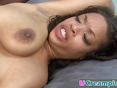 A stunning ebony babe gets her pussy fucked and creampied in a backyard
