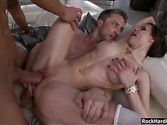 Lusty slut Mary Wet double penetrated by two huge cocks