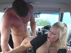 Driving examiner creampies busty blonde