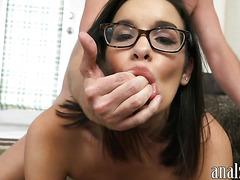 Amateur brunette GF with glasses gets her ass boned pov