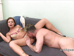 Beautiful female agent gets pussy licked