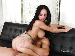 Huge round boobs Latina gets facial