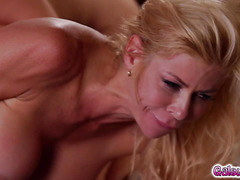 Lesbians orgasm as they glide their wet pussies