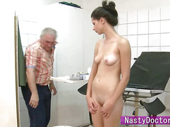 Petite Petra rides nasty old doctor