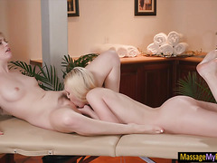 Dolly Leigh n Lily Rader intimate lesbosex on massage table