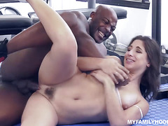Step daddy works on Abella Dangers pussy licking it good