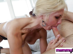 Cute and naked MILF in blow job action