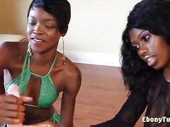 Cute Ebony Chicks Jerking White Dick