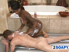 Black whore in shower is unbelievably horny
