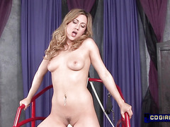 blonde with legs bound to sex chair gets pussy pounded by a sex machine