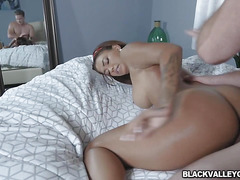 Harleys caramel pussy in interracial bliss