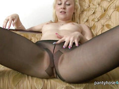 Blonde Chick in a Pantyhose Masturbates