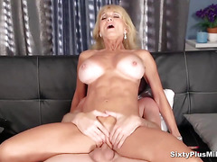 Busty blonde gets her old cunt fucked