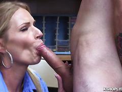 Rachel Cavilli rides the shoplyfters big stubborn cock