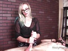 Dominatrix masseuse tortures his cock