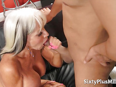 Hot GILF and her first anal video