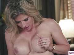 Busty stepmom Cory Chase loves grinding over Bailey Brookes wet pussy