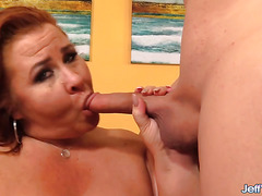 Mature BBW Lady Lynn Fingers Her Twat Then Blows and Fucks a Long Dick