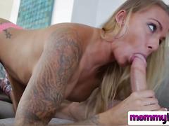 Tattooed bitch continues to devour a big cock