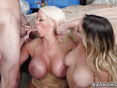 Lick cum from pussy threesome mom Stepmoms Little
