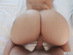 Stepmom rides on cock til nut busted inside her