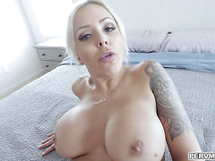 Nina Elle got a mini vibrator on her pussy she cant help but moan