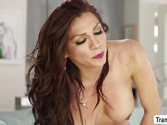 Busty TS Jessy Dubai fucks hard Heather Vahns wet pussy