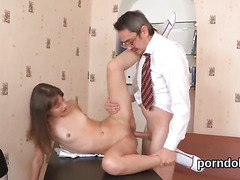 Nice schoolgirl was teased and banged by older teacher