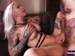 Busty tattooed blonde gets fucked to get warm