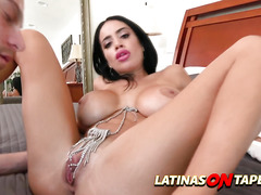 Horny latina girlfriend decides to seduce her stepson when dad's away