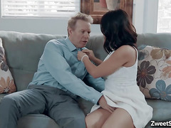 Babysitter Kendra Spade spreads her pussy for an old cock