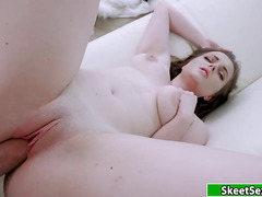 Busty brunette 19yo hooks up with a guy and gets fucked